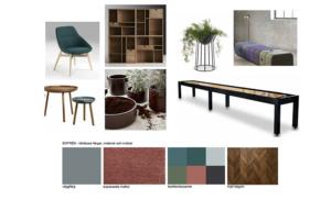 Mood Board. Med skärgården i fokus, mjuka färger, dova nyanser, naturmaterial och gröna växter