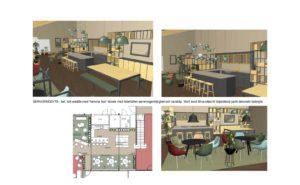 Serveringsyta med hemma-hos-känsla med barbord, barskåp och bokhyllor