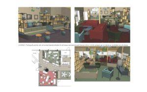 Lounge med upphöjda delar, avskärmande bokhyllor för rumskänsla, sköna möbler i mindre grupper för avskildhet om så önskas.